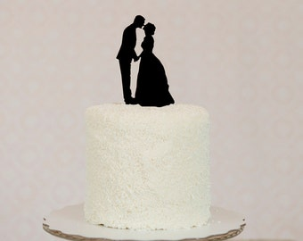 Personalized Silhouette Wedding Cake Topper in Acrylic and Digital Silhouette File