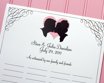 Custom Silhouette Wedding Certificate / Guest Book alternative made from your photos by Simply Silhouettes