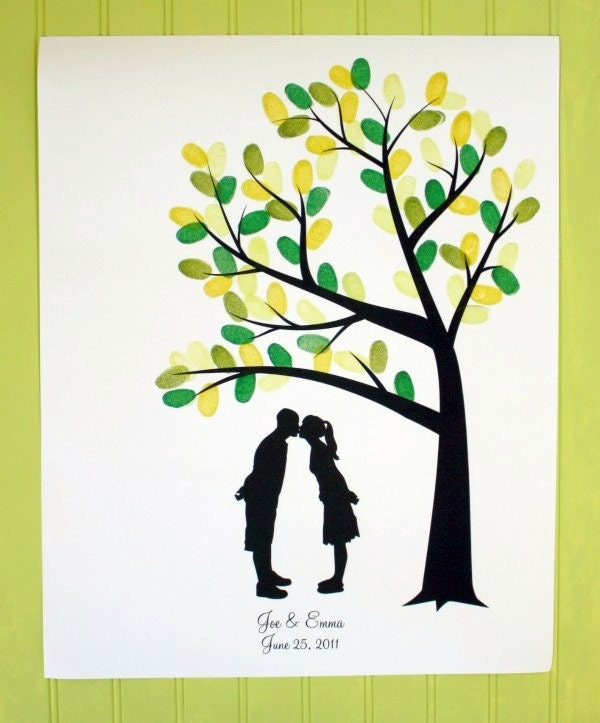 Personalized Thumbprint Tree Wedding Guest Book Alternative: Custom Silhouette Fingerprint Tree Wedding Guest Book
