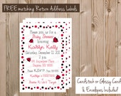 Red and Black LADYBUGS Polkadots - Birthday or Baby Shower Invitations - 4x6 - Cardstock or Glossy - 20 Cards with Envelopes