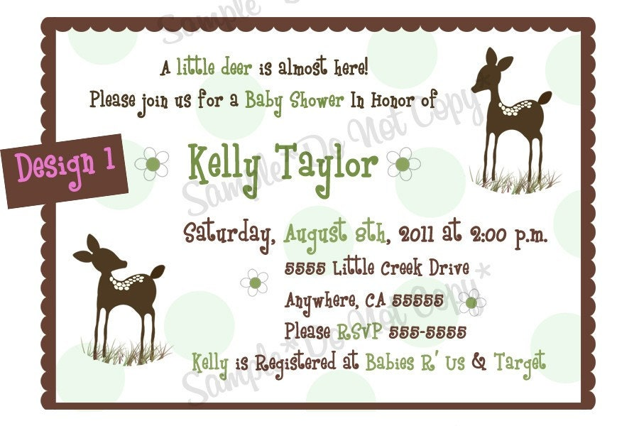 willow deer birthday or baby shower by creatinvitations on etsy