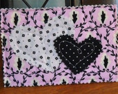 Unique Quilted Postcard - Love in the Mail - Lilac and Black
