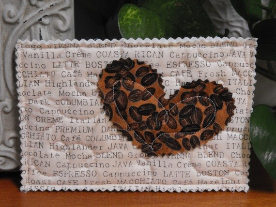 Unique Quilted Postcard - Love in the Mail - Coffee Lover