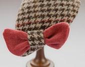 Teardrop cocktail hat in Harris tweed