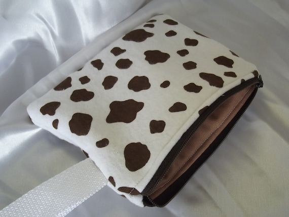 CLEARANCE SALE 40% OFF Cow Print - Padded and Zippered Wristlet Style Pouch with Brown Zipper