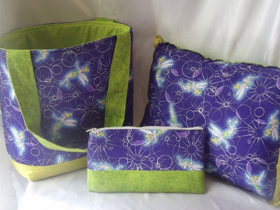 SALE 30% off - Tinkerbell Gift set, Tote, pillow, and pouch
