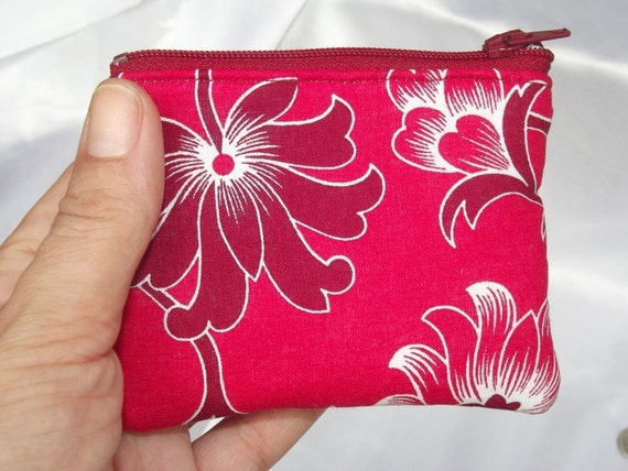 Red Floral Coin Pouch, Padded