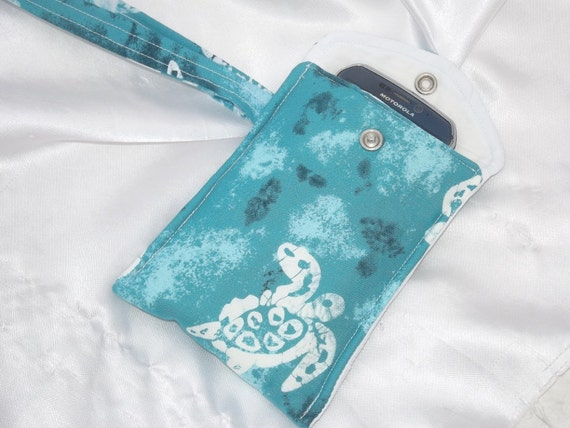 25% OFF SALE Blue Batik Turtle Cell Phone Case, Padded, and Perfect for your Media Phone, Digital Camera, Ipod or other small electronics.