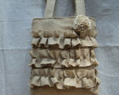 Burlap bag with ruffles with canvas lining