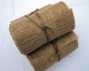 "Burlap Ribbon Stitched 6"" wide 12 yards Rustic Wedding Burlap Chair Sash Ribbon"
