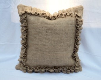 Pick Your Size Burlap Pillow Cover with Ruffles Fully Lined