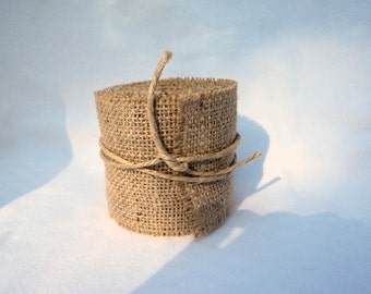 "Burlap Ribbon Stitched 2"" x 3 Yards Burlap Wedding Ribbon or Home Decor"