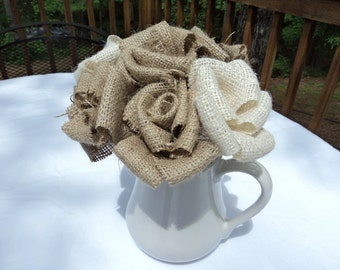 Burlap Bouquet Burlap Wedding 7 Stemmed Burlap Flowers Rustic Wedding Floral Arrangement