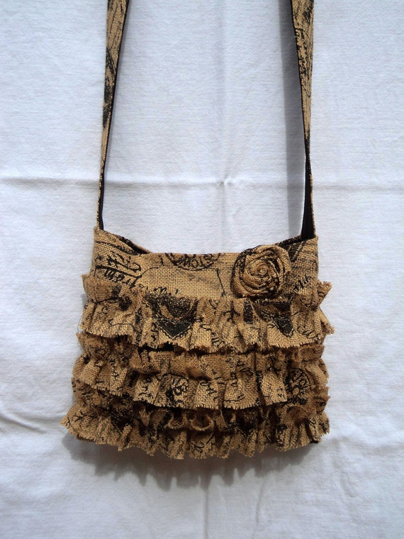 French Chic Crossbody Bag Burlap Purse