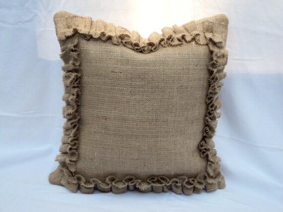 French Farmhouse Burlap Pillow Cover