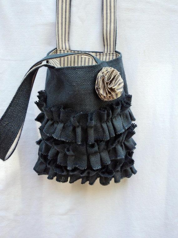 Burlap Bag with Ruffles Navy Blue Burlap Purse