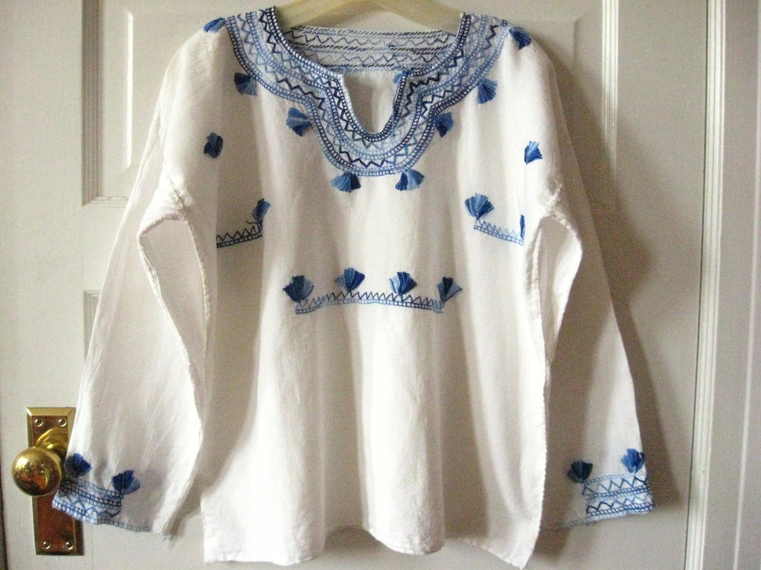 Greek Embroidered Peasant Blouse 53
