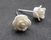 QQice''Silver-White Rose-Earrings