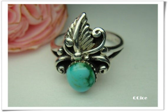 QQice' 925 Sterling Silver-Turquoise Feather-Ring size:5.75
