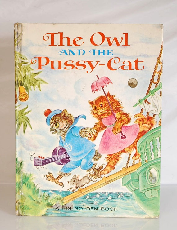 Vintage 1964 The Owl and Pussy-Cat Child Book by Golden Book 9 x 13