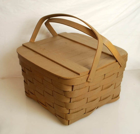 Vintage Woven Wood Picnic Sewing Basket with Handles and Hinged Lid--RESERVED FOR ANNE