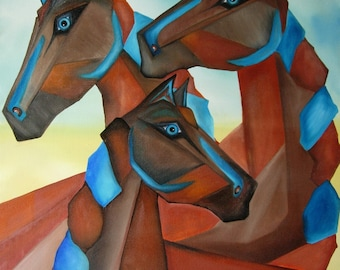 "Print: ""Horses of Madrid"" by Gina Edwards (14x20)"
