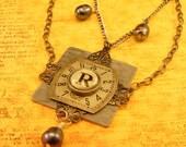 Steampunk clockface necklace