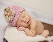 Newborn baby girl knitted hat beanie cap in Antique Rose and khaki flower 100% Cotton GREAT photo prop (sizes nb, 1-3mos, 3-6mos, 6-12mos)