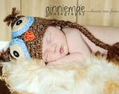 Newborn Owl hat Photography Prop Earflap sizes nb, 1-3mos, 3-6mos, 6-12mos