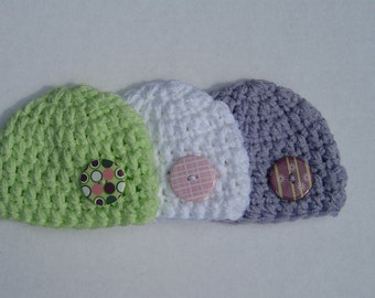 Newborn Baby 3-pack Coordinating Baby Girl Beanies (great for baby showers - sizes nb, 1-3mos, 3-6mos, 6-12mos)