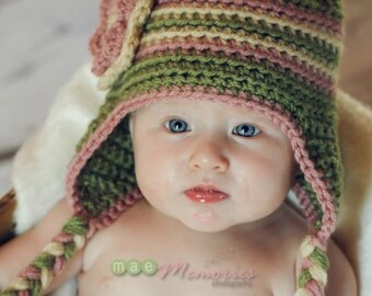 Newborn 3 color striped earflap hat Photo Prop (w pom-pom or flower - you choose colors - charts inside) sizes nb, 1-3mos, 3-6mos, 6-12mos