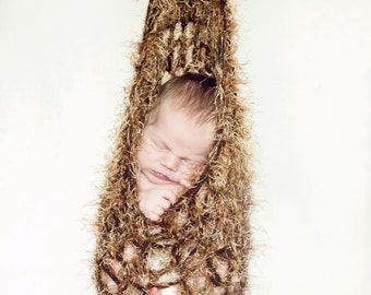 Hanging stork pouch sack, hanging cocoon nest newborn photography prop in brown/coppery mix or any color- great photo prop