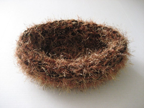 SALE - Fuzzy baby nest newborn photography prop crocheted yarn nesting egg pod bowl in brown/coppery mix or any color- great photo prop