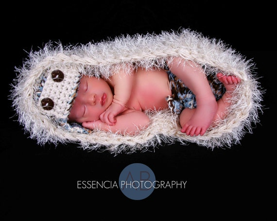 Aviator Hat & diaper set with Coconut Buttons.  Aviator bomber pilot baby boy beanie set GREAT newborn photo prop or baby shower gift