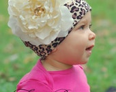 Baby Girl Hat - Cheetah with Cream Rose - asweetliferocks