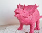 LAST ONE - Hot Pink Dinosaur - or Choose Your Color - Toy Animal Repurposed for Home Decor