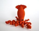 Amigurumi Sparkling Squid - Crocheted in Burnt Orange