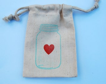 Mason Jar Muslin Bags / Set of 12 / Perfect for Wedding Favors
