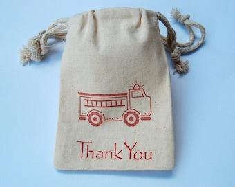 Firetruck Muslin Bags / Set of 10/Favor Bags