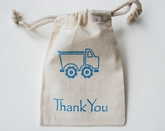 Dump Truck Construction Muslin Bags / Set of 10/ Birthday Party Favor Bag