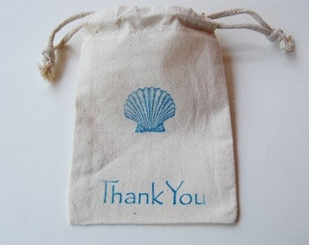 Seashell Muslin Bags / Set of 10 / Perfect for a Beach Wedding