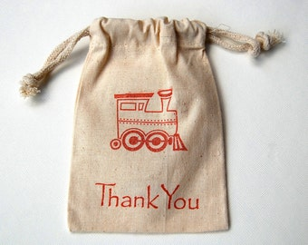 Choo Choo Train Muslin Bags / Set of 12 /Train Birthday Party