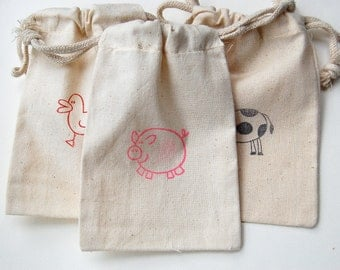 Farm Animal Muslin Bag / Set of 10/ Perfect for Birthday Party Favors / PIG / COW / DUCK /