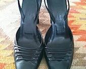 Seriously Sexy Vintage Jil Sander Black Sling Backs Size 38 (Size 7) - RESERVED for Caroline