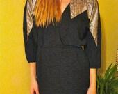Vintage Snakeskin Metallic Chevron Rocker Mini Dress