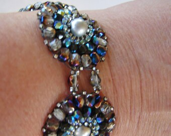 Woven crystal and pearl blue and silver medallion bracelet