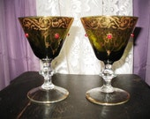 Goblets with Jewels and Gold Trim - Pair