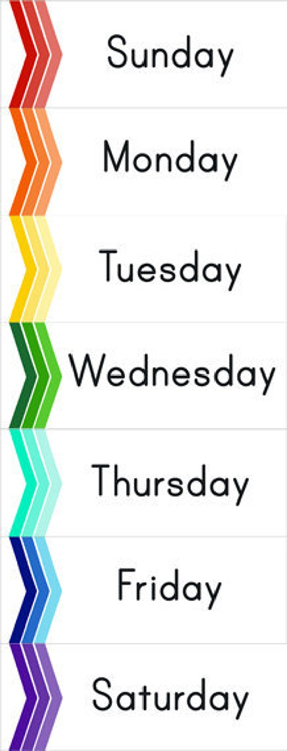 Printable Chevron Perpetual Calendar Cards with Days and Months
