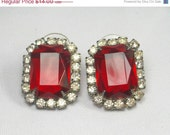 Sale Vintage Earrings Ruby Rhinestone Earrings