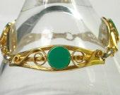 """Vintage Bracelet Plastic Green Disk Filigree Bracelet 7 1/4"""""""